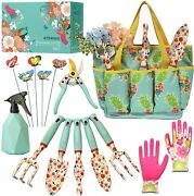 Floral Garden Heavy Duty Tool Set Gardening For Women And Storage Tote Bag