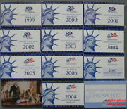 1999 Thru 2009 Run Of 11 Government Issued Proof Sets Including State Quarters