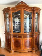 🦉2p Vintage French/italian/neoclassical Enchanting Wood China Cabinet Display