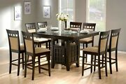 Modern 9-piece Square Counter Height Dining Set, Storage Cabinet And Lazy Susan