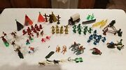 Vintage Plastic Toy Cowboys And Indians Horses Canoes Teepeetotem. Lot Of 71