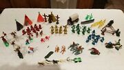 Vintage Plastic Toy Cowboys And Indians, Horses, Canoes, Teepee,totem. Lot Of 71