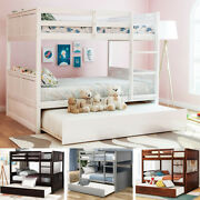 Full Over Full Bunk Bed With Twin Trundle Solid Wood Frame Convertible To 2 Beds