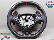 Bmw E90 E92 M3 Dct Red Ring Perforated Flat Top Bottom Carbon Steering Wheel V3
