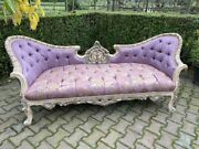 Sofa/settee/couch In French Louis Louis Xvi Style. Purple Damask With Pastel.