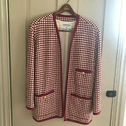 Vintage Red/cream Houndstooth Wool Cardigan Sweater Jacket Size 42