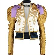 Andpound4030 Dsquared2 Designer White And Gold Military Embroidered Blazer Jacket