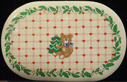 Vintage Csc 1986 Christmas Set Of 10 Vinyl 17 1/2 Oval Placemats New With Tags