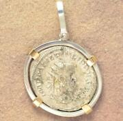 Ancient Roman Silver Coin Philip Ii A.d. 247-249 In S/s And 14kt Gold Pendant