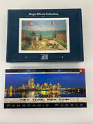 Landscapes Themed Jigsaw Puzzles Lot Of 2 750 And 500 Pcs New York And Monet