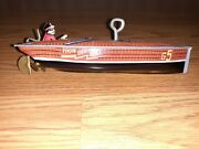 Vintage Wind Up Tin Toy Boat Rare By Schylling Thunderbolt G5 Metal / Tin Works