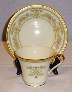 Discontinued Lenox China Castle Garden Footed Cup And Saucer Set Mint