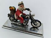 Vintage Harley Davidson Christmas Ornament Santa On Motorcycle With Gifts 1998