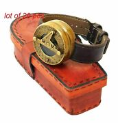 Antique Brass Watch Style Wrist Sundial Compass With Leather Case Collectible