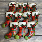 Pier 1 Christmas Tree Ornaments Red Green Plaid Metal Stockings 5andrdquo Lot Of 11