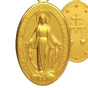 Large Miraculous Medal Solid Gold 585 14 Ct Pendant Jewelry Madonna