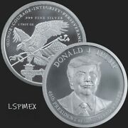 Donald J. Trump 45th President Of The Us 2 Oz .999 Silver Usa Made Bu Round Coin
