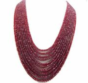 Natural Ruby Micro Faceted Rondelles Precious Gemstone 10strands Necklace