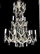 Antique French Italian Crystal Beaded Chandelier Tall Birdcage - 2 Available