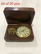 Nautical Brass Antique Clock Compass Pocket Watch With Brass Chain And Wooden Box