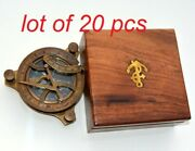 Brass Vintage Compass Antique Maritime 4 Sundial Compass With Wooden Box Gift