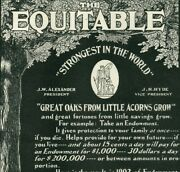 1902 Equitable Life Insurance Financial Policy Antique Original Paper Ad 4370
