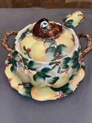 Fitz And Floyd Woodland Partridge And Holiday Pear Tureen W/ Platter And Ladle