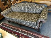 Carved Wood Frame Antique Single Cushion Sofa Circa 1920and039s