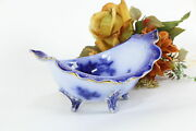 Victorian Flow Blue American Antique China 8.5 Oval Footed Bowl La Belle 36571