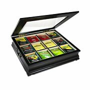 Tea Chest Large Storage Tea Bag Box Wooden With Beveled Glass Window 12 Compa...