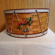 Longaberger 2012 Holiday Hostess Large Drum Basket And Flax Liner And Bells Tie-on