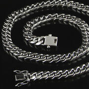 Cuban Chain Solid 925 Sterling Silver Wide Heavy Necklace Men Length 20 24 28 30