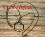 Vintage Brass Magnifying Glass Magnifier Antique Pendant Magnifier With Chain