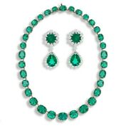925 Sterling Silver Vintage Style Green Riviere Necklace And Hexagon Earrings