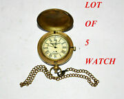 Antique Vintage Brass Push Button Pocket Watch With Chain Lot Of 5 Collectible