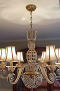 French Crystal Beaded Chandelier Gilt Metal Tole Maison Bagues Style 7 Light