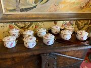 Hand Painted French Porcelain Lidded Chocolate Pots Set Of Ten Marked