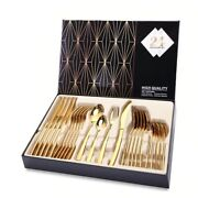 Tableware Cutlery Sets Stainless Steel Gold Western Kitchen Knives Forks Spoons