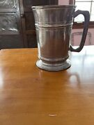 Antique Pewter Quart Tankard Engraved With Verification Mark 6 1/2andrdquo X 4 3/4andrdquo