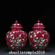 9.6 A Pair China Qing Dynasty Carmine Pastel Bamboo And Plum Pattern Pot