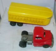 Vintage Large Hubley Kiddie Toy 12 Long Cattle Trailer And Truck New Old Stock
