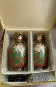 Jingfa Brass Cloisonne Ware Pair Of Vases Peoples Republic Of China- Nib