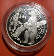 25 Rubles Russia 5 Oz Silver 1997 Brown Bear Protect Our World Animal Proof