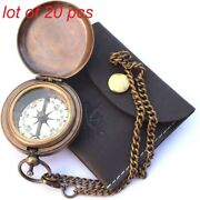 Antique Handmade Brass Push Open Compass On Chain With Leather Case Collectible