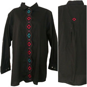 Womens Vintage Wrangler Silver Lake 1x Black Embroidered Button Down Rodeo Top