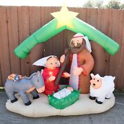2007 Gemmy Holy Family Nativity Scene 7ft Christmas Airblown Inflatable Light Up