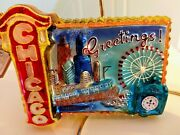 Radko Greetings From Chicago Ornament Theater Marquee Elevated Frango Stamp