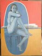 Oscar Mellor 1921-2005 Giant Original Signed Oil Painting Conroy Maddox Interest