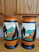 A Rare Pair Of Art Deco Clairce Cliff Trees And House Vases Shape 265 Fantasque
