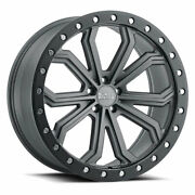22 Black Rhino Trabuco Matte Gunmetal W/black Lip Edge Wheels Qty 4